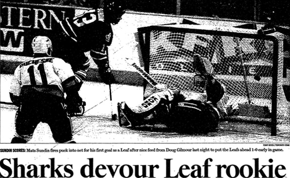 Mats Sundin scores his first goal as a member of the Toronto Maple Leafs